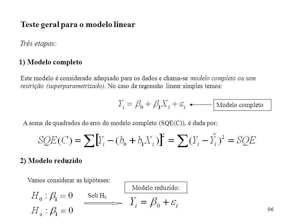 96 Teste geral para o modelo linear Três etapas: 1) Modelo completo Este modelo é considerado adequado para os dados e chama-se modelo completo ou sem restrição (superparametrizado).