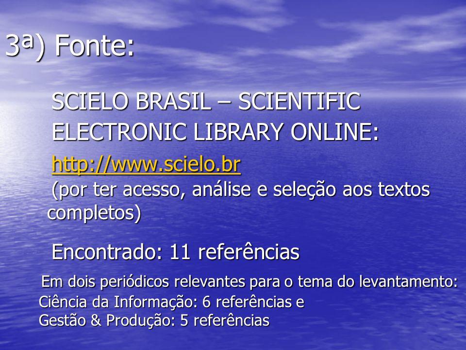 3ª) Fonte: SCIELO BRASIL – SCIENTIFIC ELECTRONIC LIBRARY ONLINE: http://www.scielo.br (por ter acesso, análise e seleção aos textos completos) Encontr