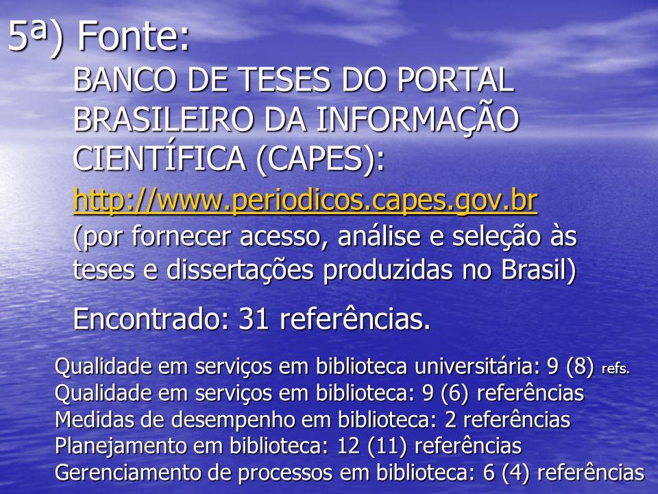 5ª) Fonte: BANCO DE TESES DO PORTAL BRASILEIRO DA INFORMAÇÃO CIENTÍFICA (CAPES): http://www.periodicos.capes.gov.br (por fornecer acesso, análise e se