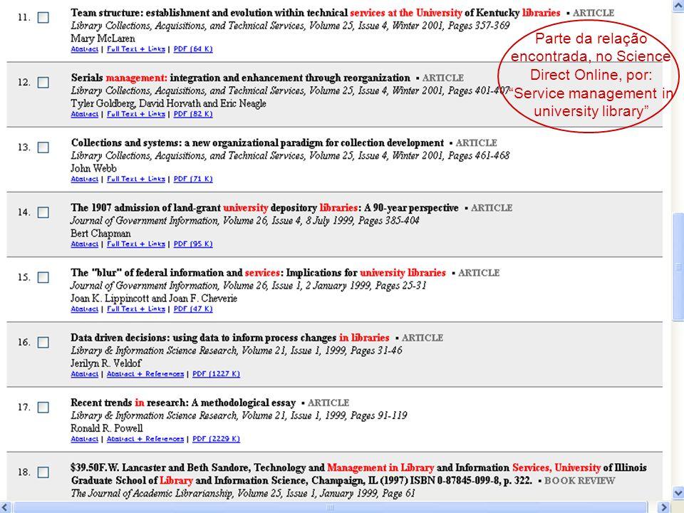 Parte da relação encontrada, no Science Direct Online, por: Service management in university library