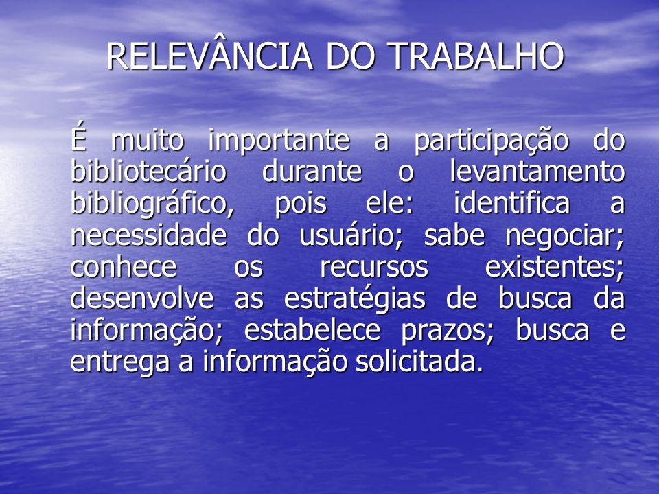 RELEVÂNCIA DO TRABALHO É muito importante a participação do bibliotecário durante o levantamento bibliográfico, pois ele: identifica a necessidade do
