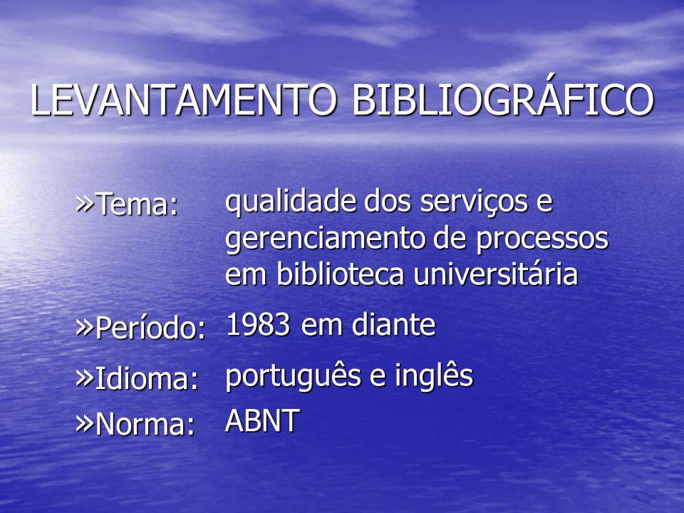 LEVANTAMENTO BIBLIOGRÁFICO » Tema: qualidade dos serviços e gerenciamento de processos em biblioteca universitária » Período: 1983 em diante » Idioma: