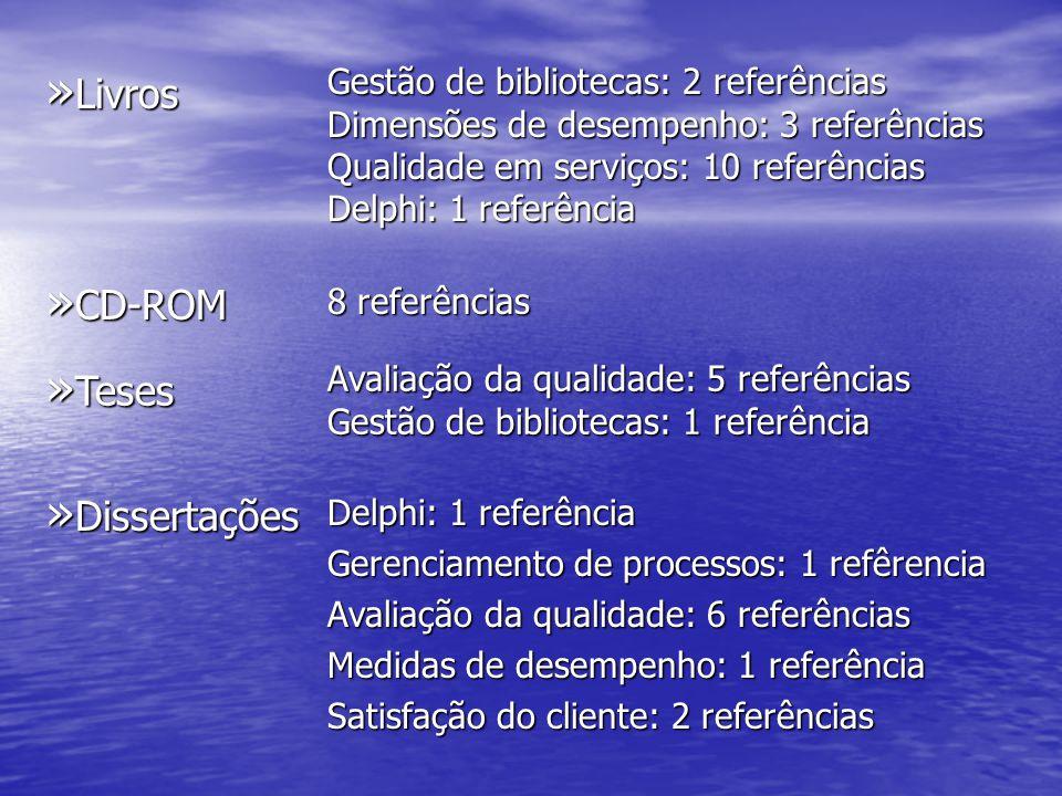 » Livros Gestão de bibliotecas: 2 referências Dimensões de desempenho: 3 referências Qualidade em serviços: 10 referências Delphi: 1 referência » CD-R