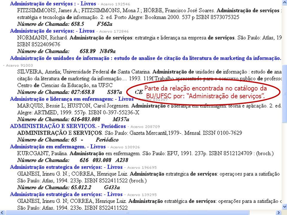 Parte da relação encontrada no catálogo da BU/UFSC por: Administração de serviços.