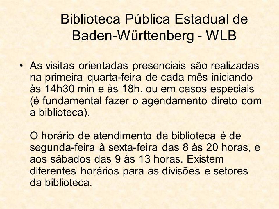 Biblioteca Pública Estadual de Baden-Württenberg - WLB Coleção de bíblias - http://www.wlb- stuttgart.de/archive/bibelslg.html, entre as quais a de Gutenberg.http://www.wlb- stuttgart.de/archive/bibelslg.html Apenas 3% dos livros estão disponíveis no sistema de acesso livre, enquanto 97% do acervo é em áreas restritas - Magazin.