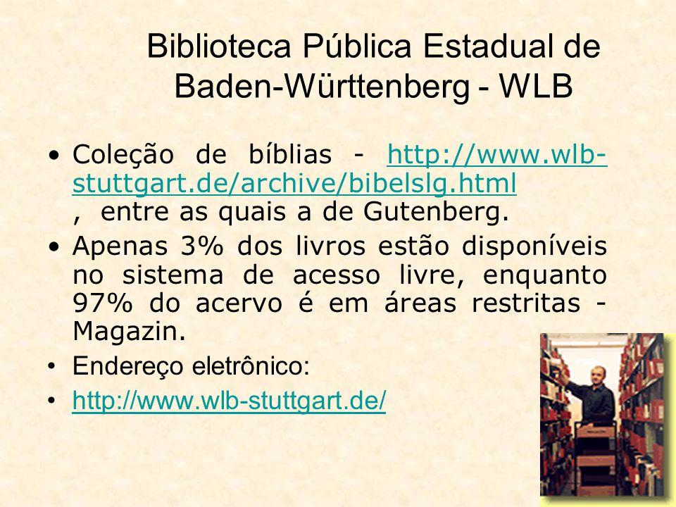 Biblioteca Pública Estadual de Baden-Württenberg – dados de 2004 273 dias com atendimento ao público; 64 horas por semana de atendimento ao público; 1.130.380 empréstimos; 34.206 usuários ativos; 260.241 atendimentos nos salões de leitura; 59.860 atendimento a perguntas e informações; 285 orientações e visitas orientadas; 91.427 empréstimo entre-bibliotecas (ativo/entregas); 23.205 empréstimo entre-bibliotecas (passivo/encomendas); 5 exposições culturais; 20 atividades culturais como palestras.