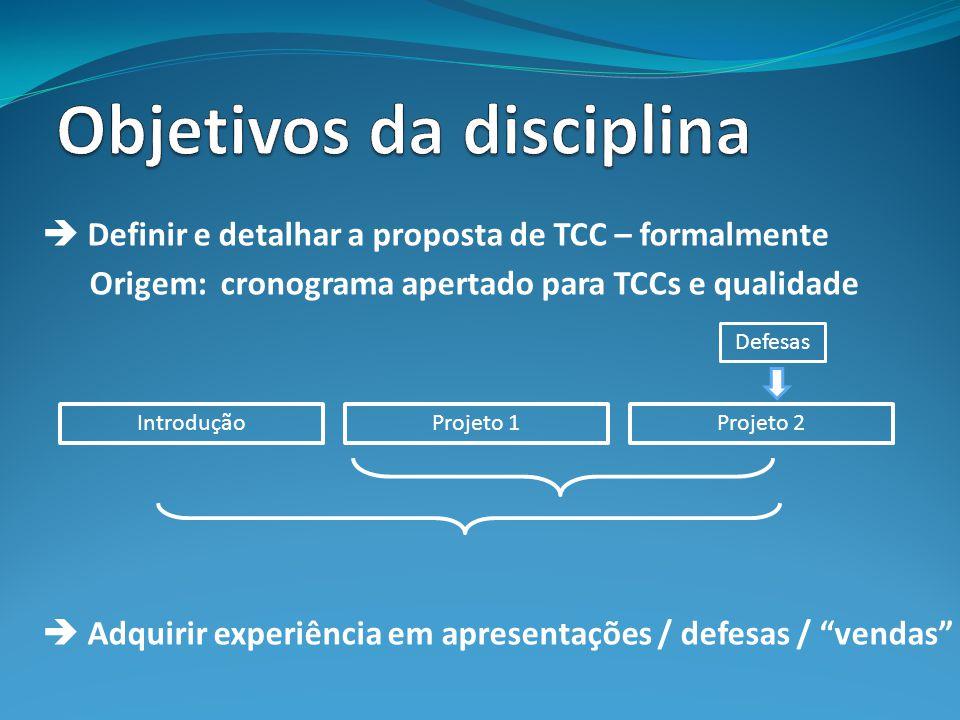 Definir e detalhar a proposta de TCC – formalmente Origem: cronograma apertado para TCCs e qualidade Adquirir experiência em apresentações / defesas / vendas IntroduçãoProjeto 1Projeto 2 Defesas
