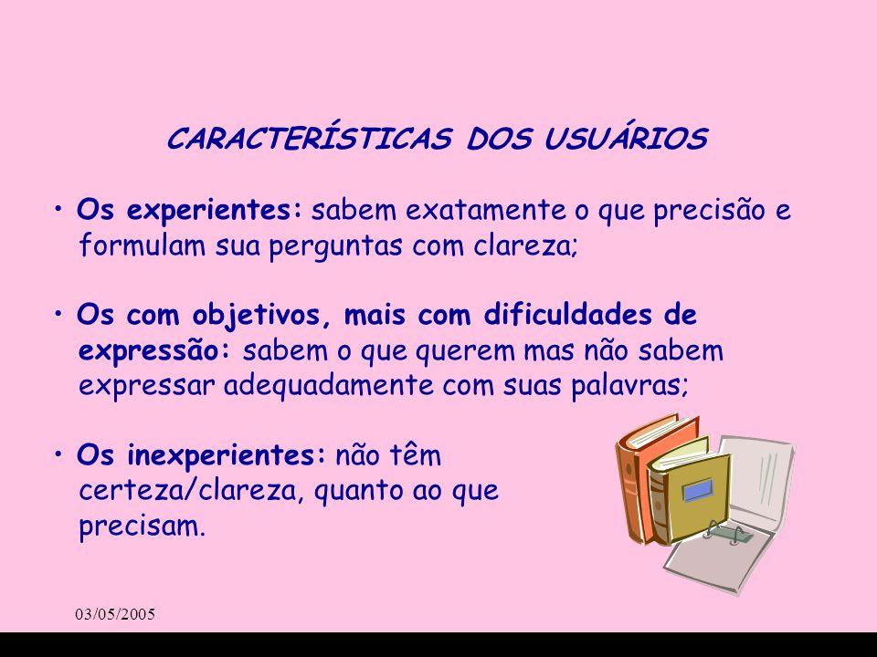 03/05/2005 CARACTERÍSTICAS DOS USUÁRIOS Os experientes: sabem exatamente o que precisão e formulam sua perguntas com clareza; Os com objetivos, mais c
