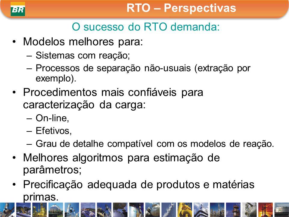 O sucesso do RTO demanda: Modelos melhores para: –Sistemas com reação; –Processos de separação não-usuais (extração por exemplo). Procedimentos mais c