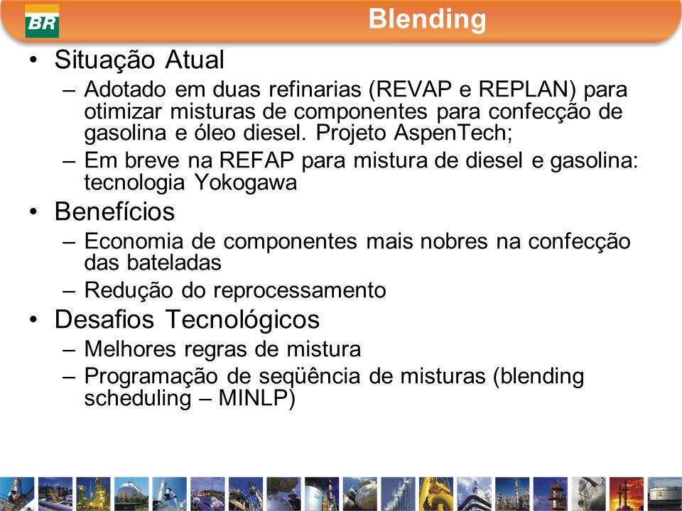 Situação Atual –Adotado em duas refinarias (REVAP e REPLAN) para otimizar misturas de componentes para confecção de gasolina e óleo diesel. Projeto As