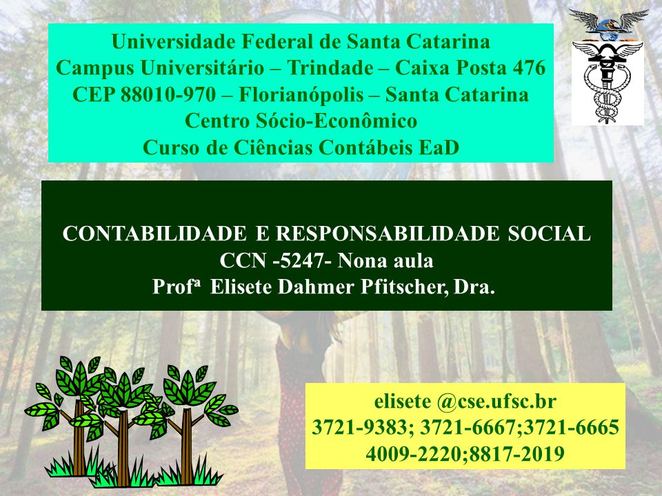 CONTABILIDADE E RESPONSABILIDADE SOCIAL CCN -5247- Nona aula Prof a Elisete Dahmer Pfitscher, Dra.