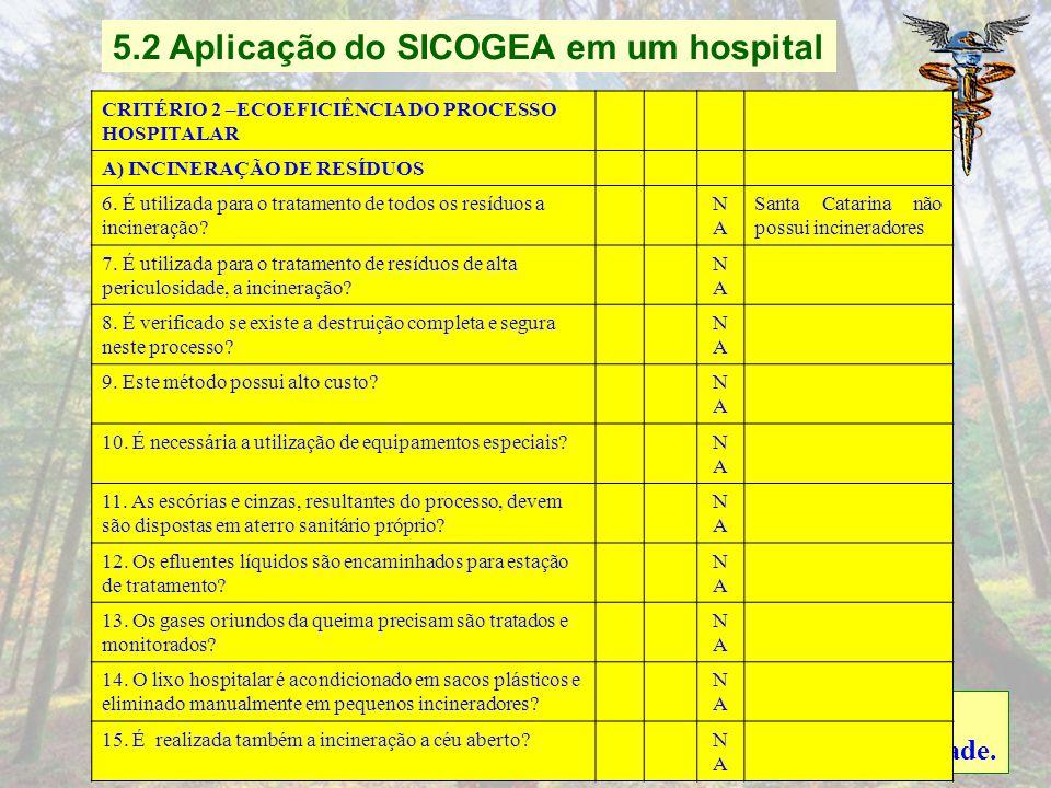 Contabilidade e Auditoria Ambiental como Instrumento Gerencial: Um Estudo de Caso em um Hospital Critério 1: Fornecedores Critério 2: Ecoeficiência do