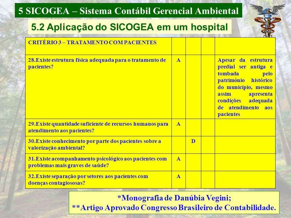 5 SICOGEA – Sistema Contábil Gerencial Ambiental *Monografia de Danúbia Vegini; **Artigo Aprovado Congresso Brasileiro de Contabilidade. 21. O lixo tr