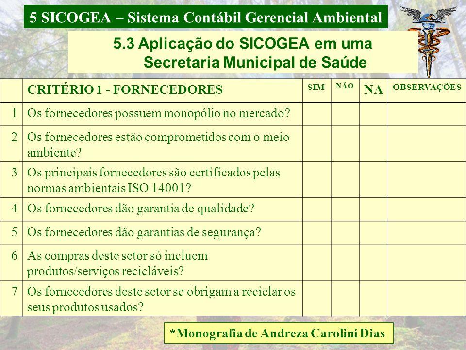 5 SICOGEA – Sistema Contábil Gerencial Ambiental *Monografia de Danúbia Vegini; **Artigo Aprovado Congresso Brasileiro de Contabilidade. CRITÉRIO 3 –