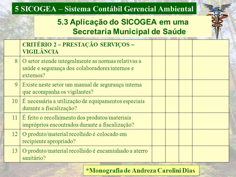 5 SICOGEA – Sistema Contábil Gerencial Ambiental *Monografia de Andreza Carolini Dias CRITÉRIO 1 - FORNECEDORES SIM NÃO NA OBSERVAÇÕES 1Os fornecedore