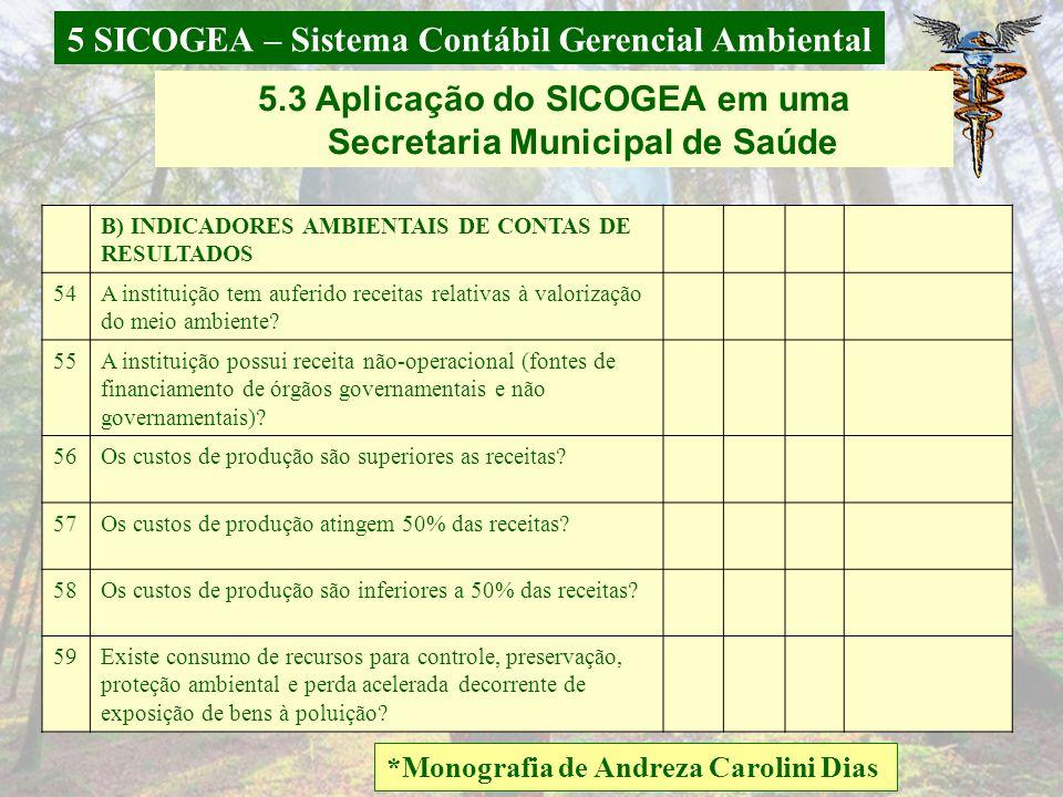 5 SICOGEA – Sistema Contábil Gerencial Ambiental *Monografia de Andreza Carolini Dias 5.3 Aplicação do SICOGEA em uma Secretaria Municipal de Saúde 49