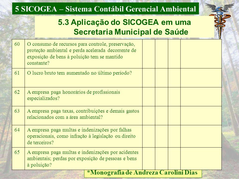5 SICOGEA – Sistema Contábil Gerencial Ambiental *Monografia de Andreza Carolini Dias 5.3 Aplicação do SICOGEA em uma Secretaria Municipal de Saúde B)