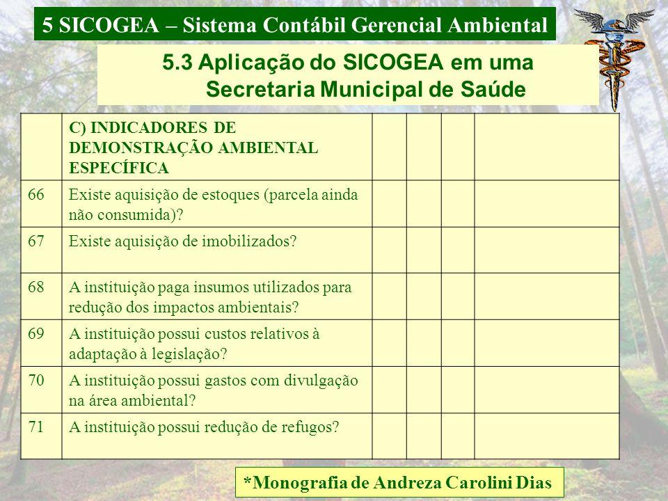 5 SICOGEA – Sistema Contábil Gerencial Ambiental *Monografia de Andreza Carolini Dias 5.3 Aplicação do SICOGEA em uma Secretaria Municipal de Saúde 60