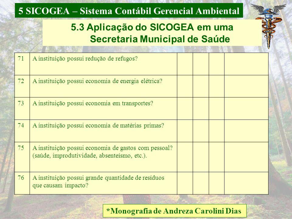 5 SICOGEA – Sistema Contábil Gerencial Ambiental *Monografia de Andreza Carolini Dias 5.3 Aplicação do SICOGEA em uma Secretaria Municipal de Saúde C)