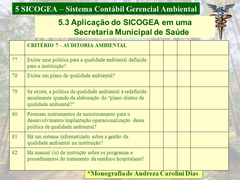 5 SICOGEA – Sistema Contábil Gerencial Ambiental *Monografia de Andreza Carolini Dias 5.3 Aplicação do SICOGEA em uma Secretaria Municipal de Saúde 71