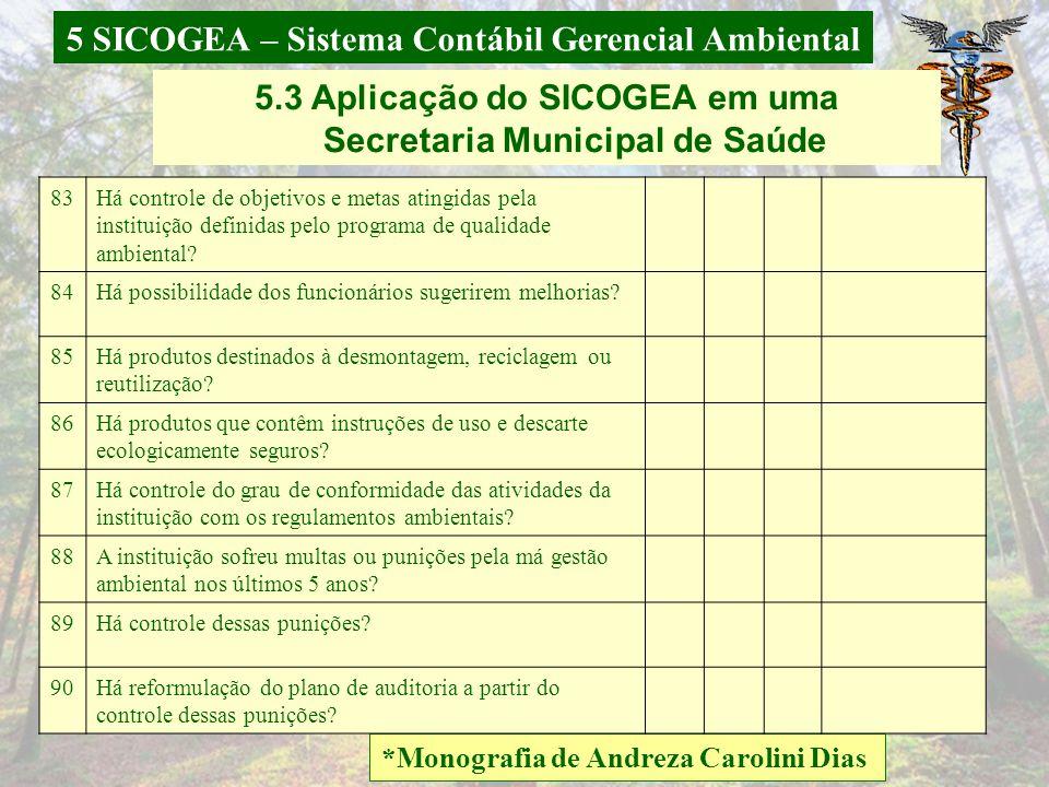 5 SICOGEA – Sistema Contábil Gerencial Ambiental *Monografia de Andreza Carolini Dias 5.3 Aplicação do SICOGEA em uma Secretaria Municipal de Saúde CR