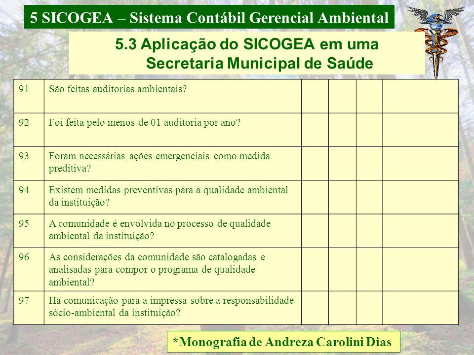 5 SICOGEA – Sistema Contábil Gerencial Ambiental *Monografia de Andreza Carolini Dias 5.3 Aplicação do SICOGEA em uma Secretaria Municipal de Saúde 83
