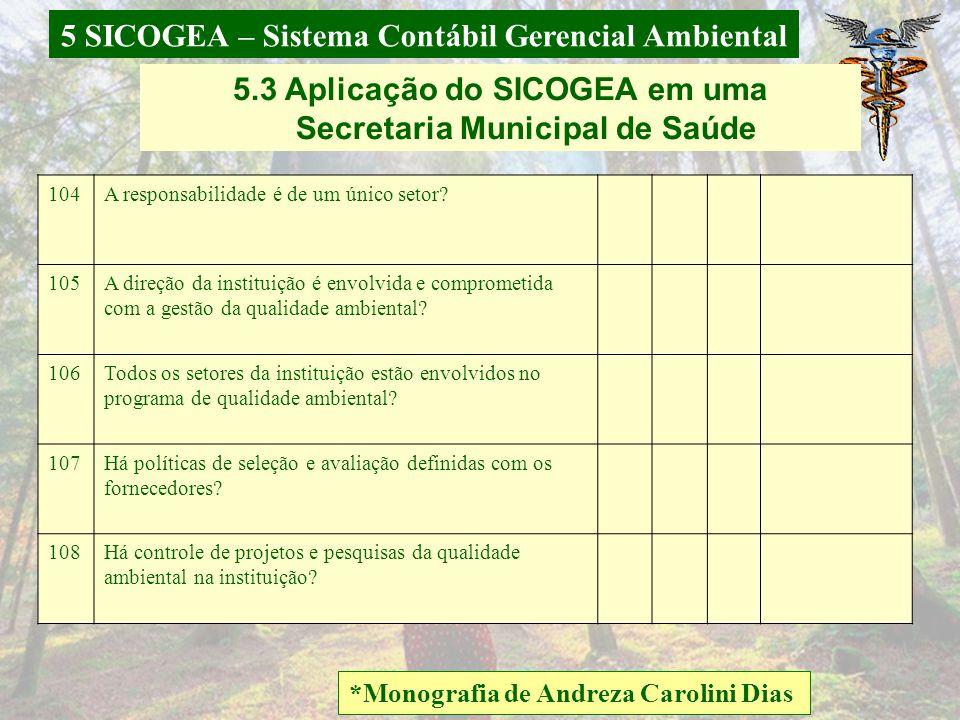 5 SICOGEA – Sistema Contábil Gerencial Ambiental *Monografia de Andreza Carolini Dias 5.3 Aplicação do SICOGEA em uma Secretaria Municipal de Saúde 98