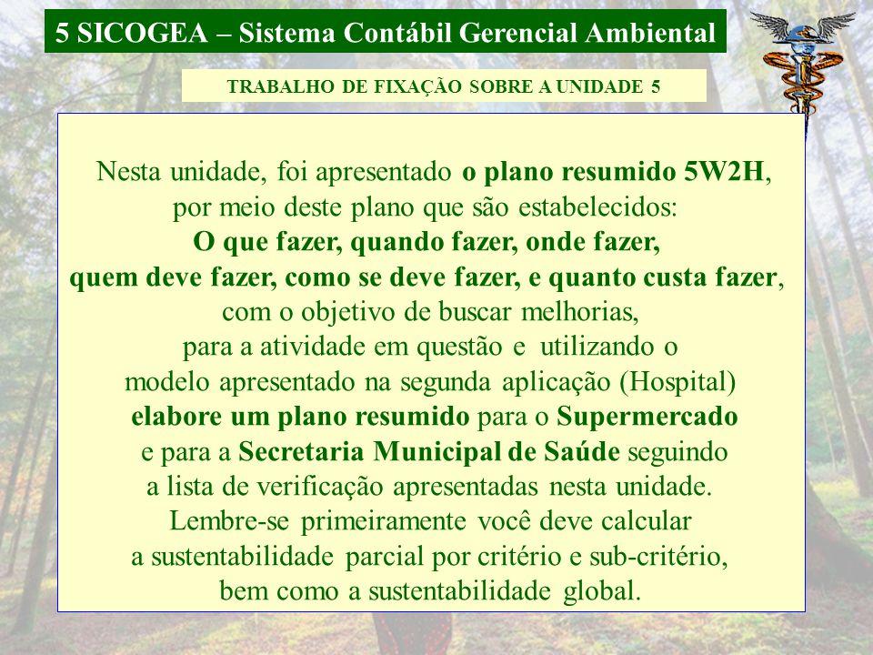 5 SICOGEA – Sistema Contábil Gerencial Ambiental *Monografia de Andreza Carolini Dias 5.3 Aplicação do SICOGEA em uma Secretaria Municipal de Saúde 10