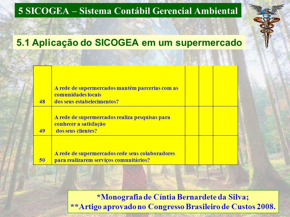 5 SICOGEA – Sistema Contábil Gerencial Ambiental *Monografia de Andreza Carolini Dias 5.3 Aplicação do SICOGEA em uma Secretaria Municipal de Saúde 91São feitas auditorias ambientais.