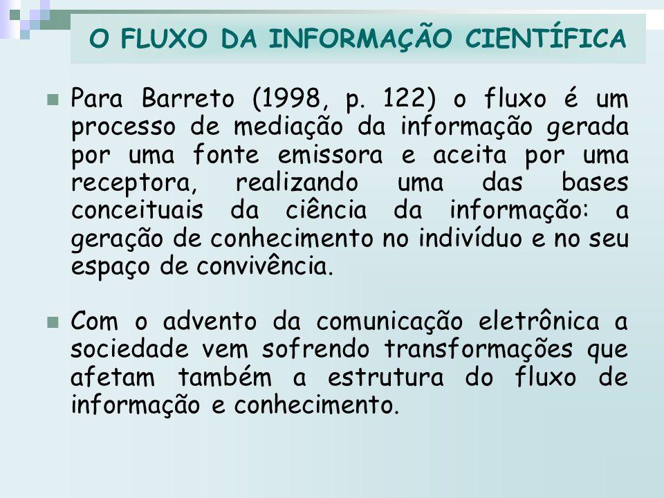 Para Barreto (1998, p. 122) o fluxo é um processo de mediação da informação gerada por uma fonte emissora e aceita por uma receptora, realizando uma d