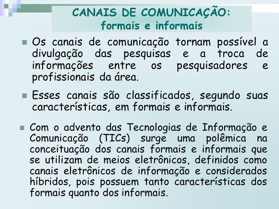 Os canais de comunicação tornam possível a divulgação das pesquisas e a troca de informações entre os pesquisadores e profissionais da área. Esses can