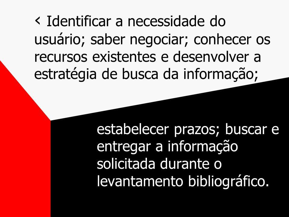 Identificar a necessidade do usuário; saber negociar; conhecer os recursos existentes e desenvolver a estratégia de busca da informação; estabelecer prazos; buscar e entregar a informação solicitada durante o levantamento bibliográfico.