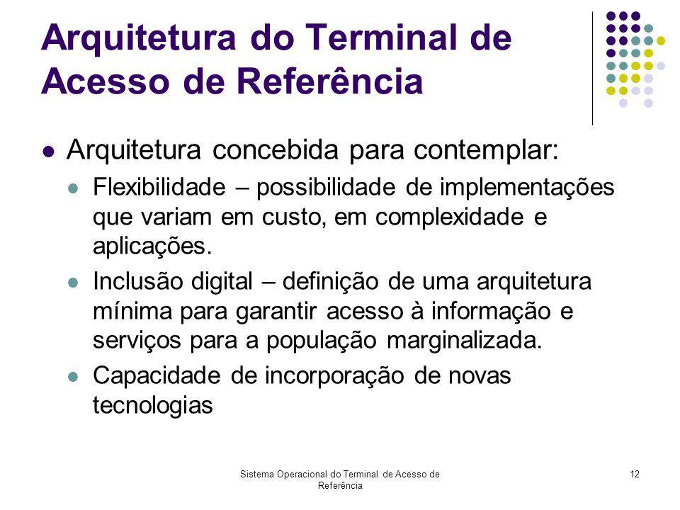 Sistema Operacional do Terminal de Acesso de Referência 12 Arquitetura do Terminal de Acesso de Referência Arquitetura concebida para contemplar: Flex