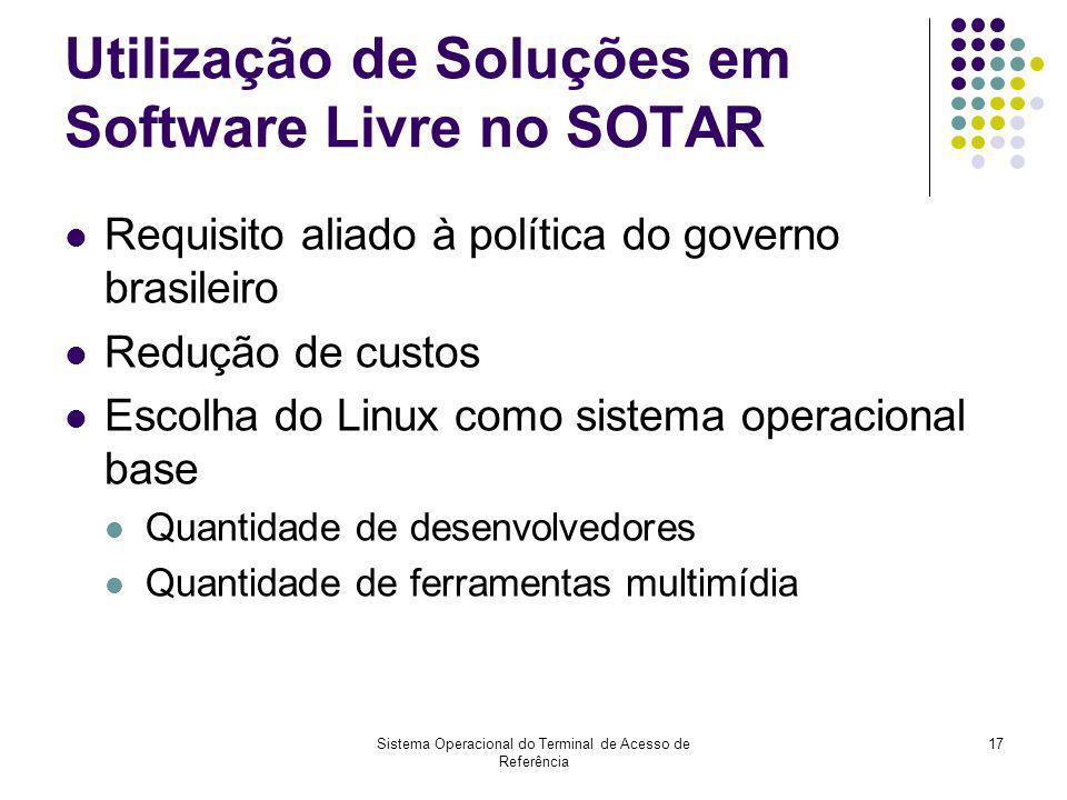 Sistema Operacional do Terminal de Acesso de Referência 17 Utilização de Soluções em Software Livre no SOTAR Requisito aliado à política do governo br