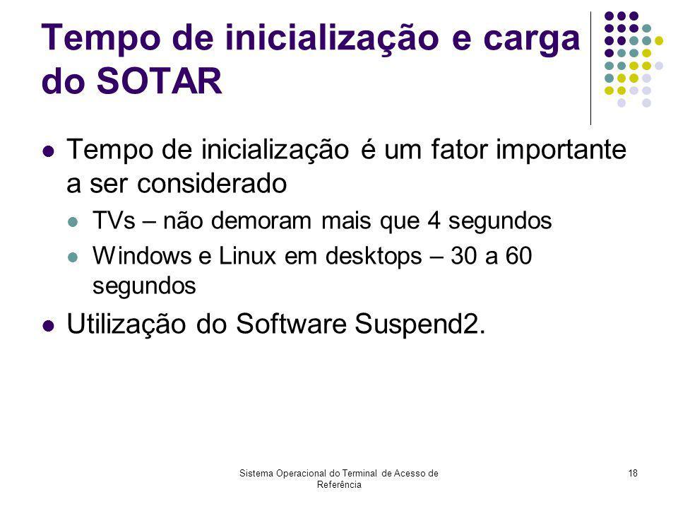 Sistema Operacional do Terminal de Acesso de Referência 18 Tempo de inicialização e carga do SOTAR Tempo de inicialização é um fator importante a ser