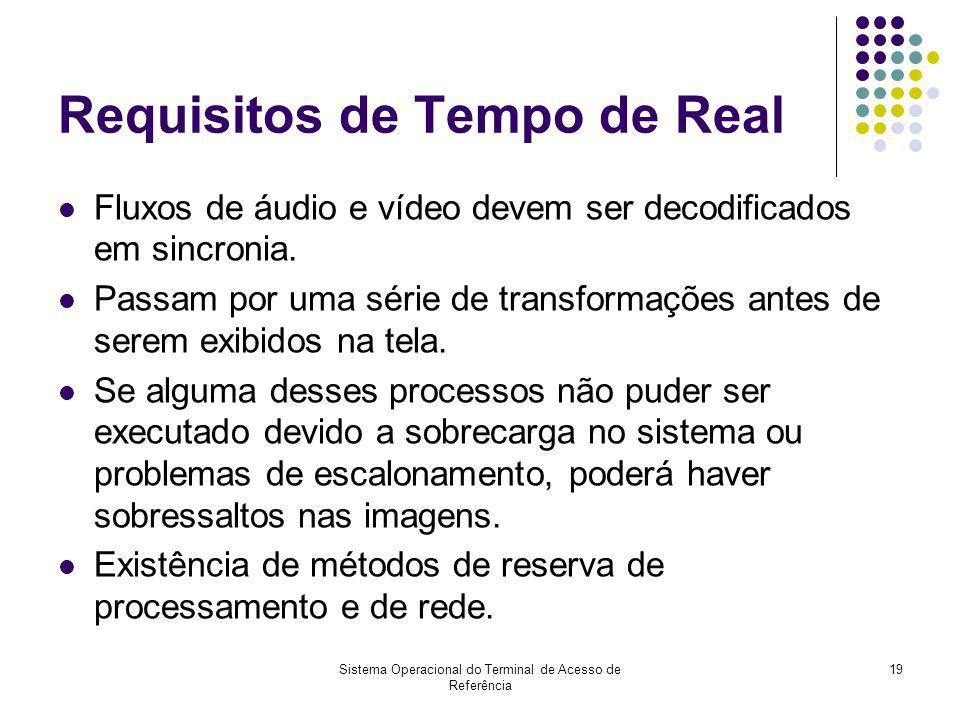 Sistema Operacional do Terminal de Acesso de Referência 19 Requisitos de Tempo de Real Fluxos de áudio e vídeo devem ser decodificados em sincronia. P