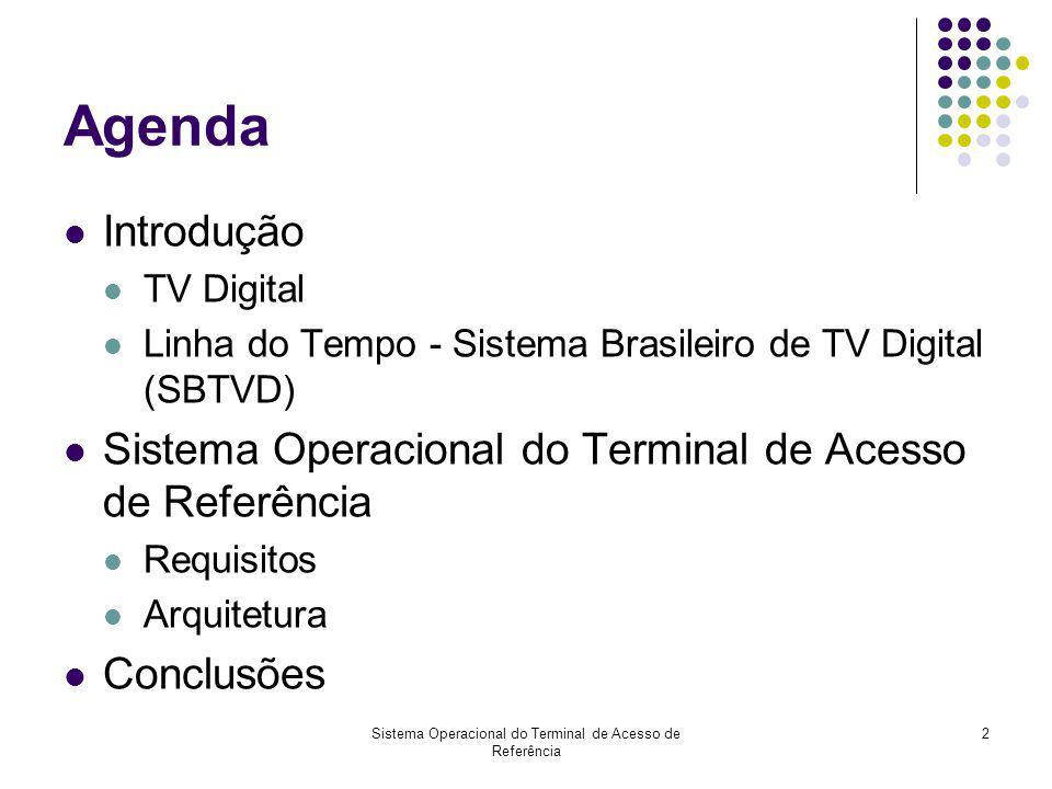 Sistema Operacional do Terminal de Acesso de Referência 2 Agenda Introdução TV Digital Linha do Tempo - Sistema Brasileiro de TV Digital (SBTVD) Siste