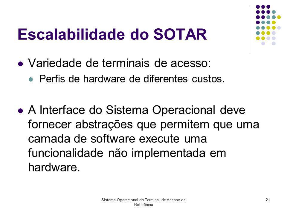 Sistema Operacional do Terminal de Acesso de Referência 21 Escalabilidade do SOTAR Variedade de terminais de acesso: Perfis de hardware de diferentes