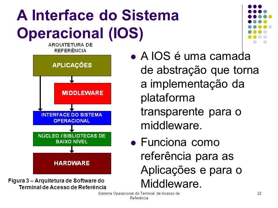 Sistema Operacional do Terminal de Acesso de Referência 22 A Interface do Sistema Operacional (IOS) A IOS é uma camada de abstração que torna a implem
