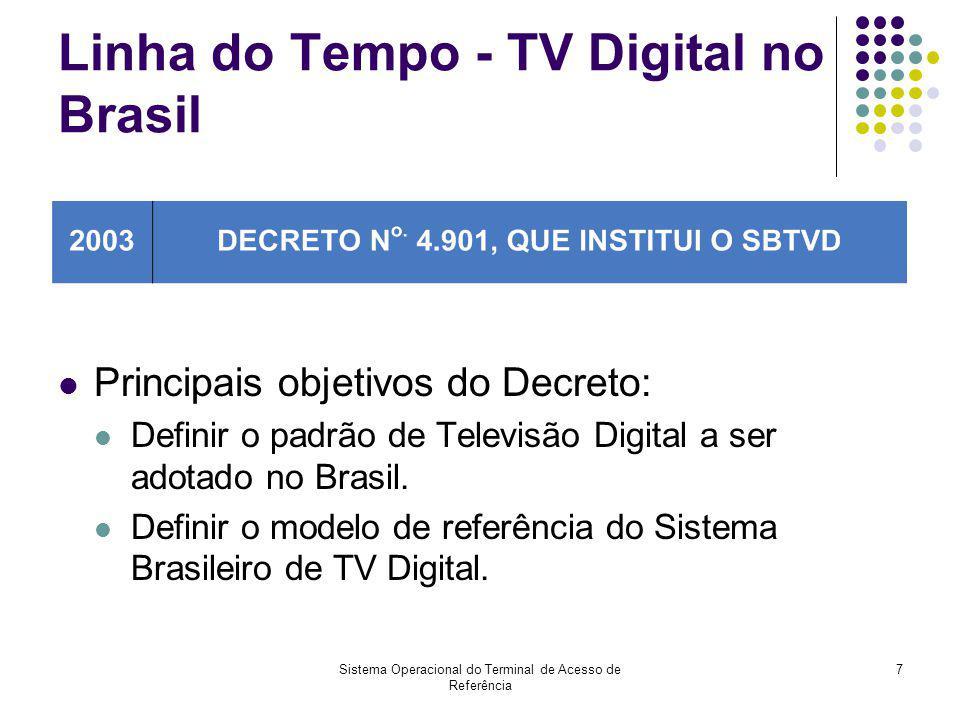 Sistema Operacional do Terminal de Acesso de Referência 7 Linha do Tempo - TV Digital no Brasil Principais objetivos do Decreto: Definir o padrão de T