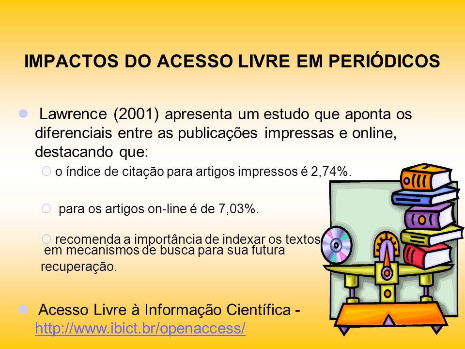 IMPACTOS DO ACESSO LIVRE EM PERIÓDICOS Lawrence (2001) apresenta um estudo que aponta os diferenciais entre as publicações impressas e online, destaca