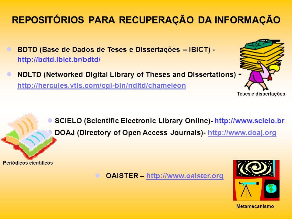 REPOSITÓRIOS PARA RECUPERAÇÃO DA INFORMAÇÃO BDTD (Base de Dados de Teses e Dissertações – IBICT) - http://bdtd.ibict.br/bdtd/ NDLTD (Networked Digital