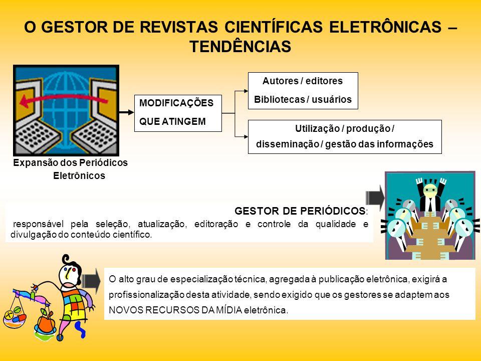 O GESTOR DE REVISTAS CIENTÍFICAS ELETRÔNICAS – TENDÊNCIAS Utilização / produção / disseminação / gestão das informações Expansão dos Periódicos Eletrô