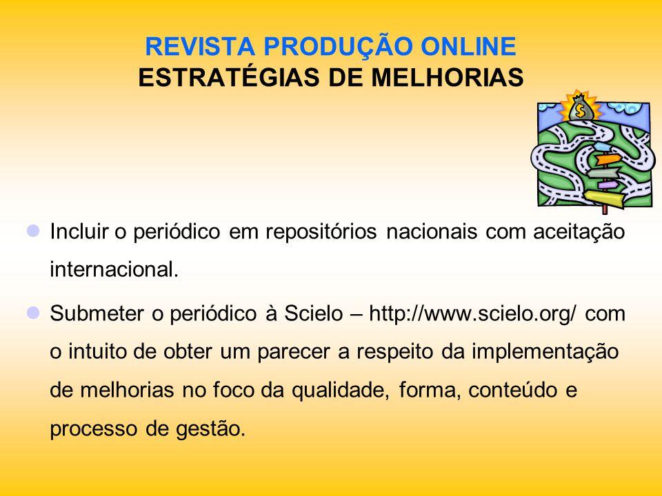 REVISTA PRODUÇÃO ONLINE ESTRATÉGIAS DE MELHORIAS Incluir o periódico em repositórios nacionais com aceitação internacional. Submeter o periódico à Sci
