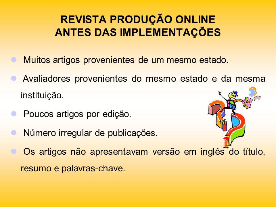 MELHORIAS NA GESTÃO DO PROCESSO EDITORIAL DA Produção Online Aumento do número de submissões.