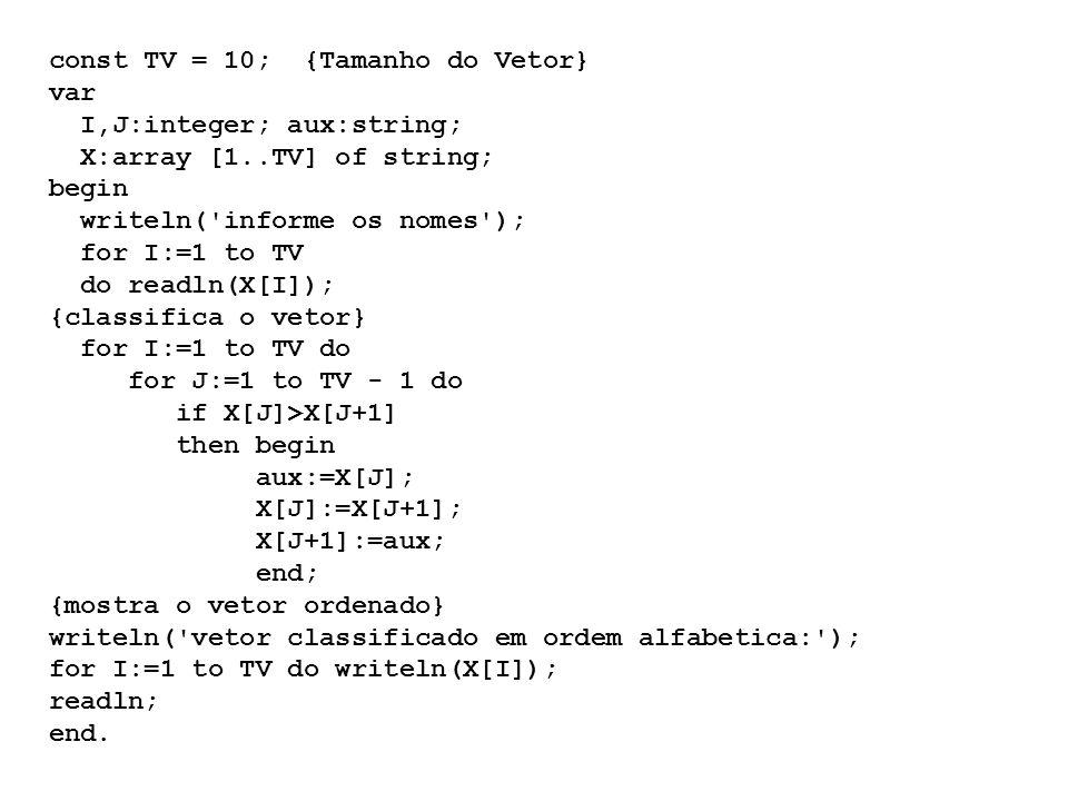 const TV = 10; {Tamanho do Vetor} var I,J:integer; aux:string; X:array [1..TV] of string; begin writeln( informe os nomes ); for I:=1 to TV do readln(X[I]); {classifica o vetor} for I:=1 to TV do for J:=1 to TV - 1 do if X[J]>X[J+1] then begin aux:=X[J]; X[J]:=X[J+1]; X[J+1]:=aux; end; {mostra o vetor ordenado} writeln( vetor classificado em ordem alfabetica: ); for I:=1 to TV do writeln(X[I]); readln; end.