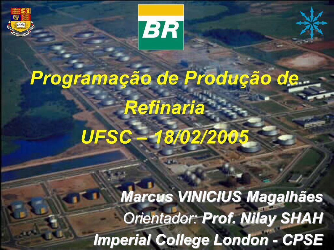 Programação de Produção de Refinaria Programação de Produção de Refinaria UFSC – 18/02/2005 Marcus VINICIUS Magalhães Orientador: Prof. Nilay SHAH Imp