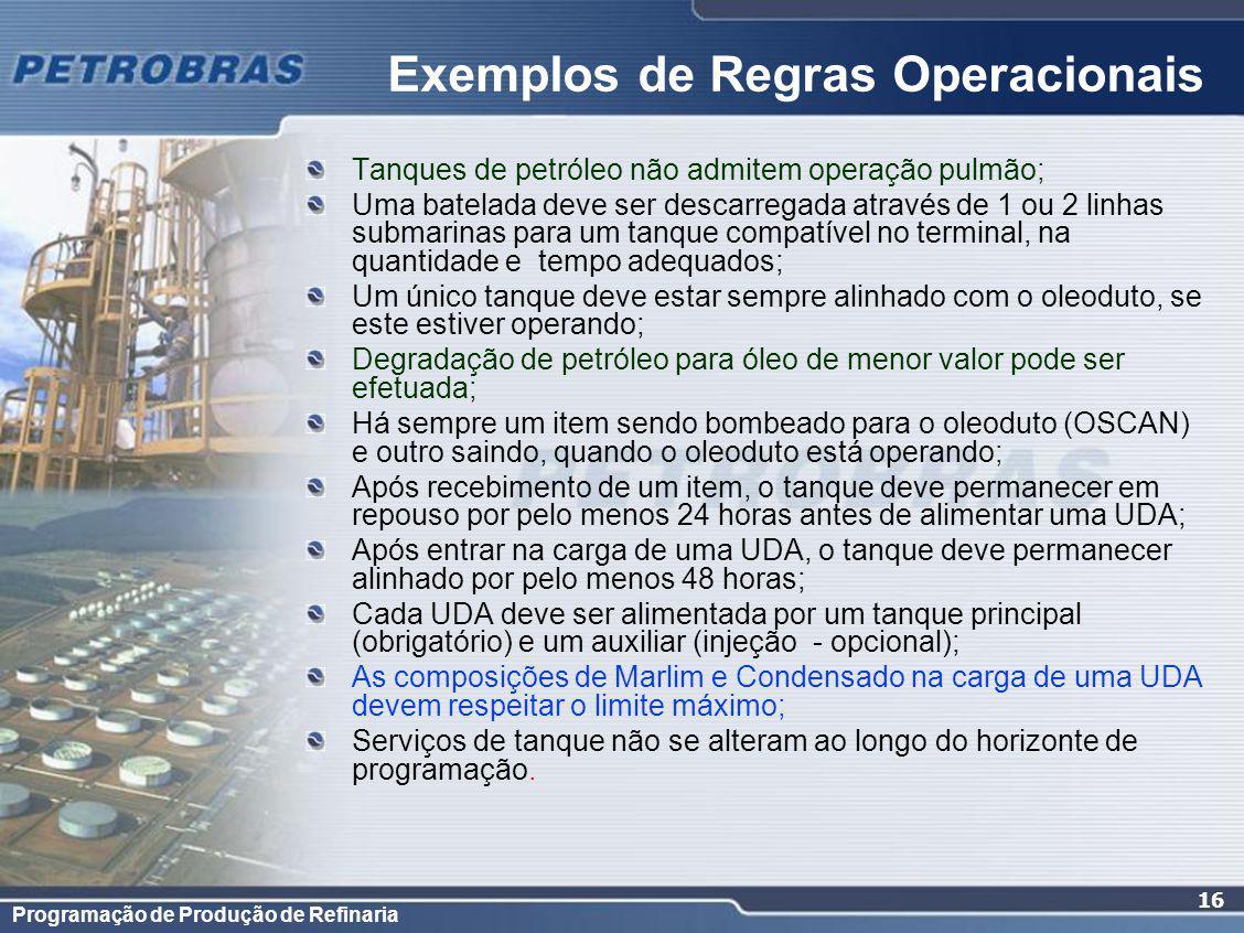 Programação de Produção de Refinaria 16 Tanques de petróleo não admitem operação pulmão; Uma batelada deve ser descarregada através de 1 ou 2 linhas submarinas para um tanque compatível no terminal, na quantidade e tempo adequados; Um único tanque deve estar sempre alinhado com o oleoduto, se este estiver operando; Degradação de petróleo para óleo de menor valor pode ser efetuada; Há sempre um item sendo bombeado para o oleoduto (OSCAN) e outro saindo, quando o oleoduto está operando; Após recebimento de um item, o tanque deve permanecer em repouso por pelo menos 24 horas antes de alimentar uma UDA; Após entrar na carga de uma UDA, o tanque deve permanecer alinhado por pelo menos 48 horas; Cada UDA deve ser alimentada por um tanque principal (obrigatório) e um auxiliar (injeção - opcional); As composições de Marlim e Condensado na carga de uma UDA devem respeitar o limite máximo; Serviços de tanque não se alteram ao longo do horizonte de programação.