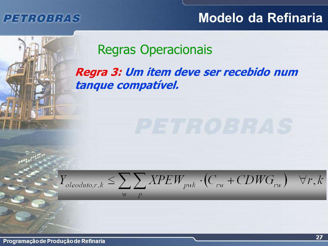 Programação de Produção de Refinaria 27 Regra 3: Um item deve ser recebido num tanque compatível. Regras Operacionais Modelo da Refinaria