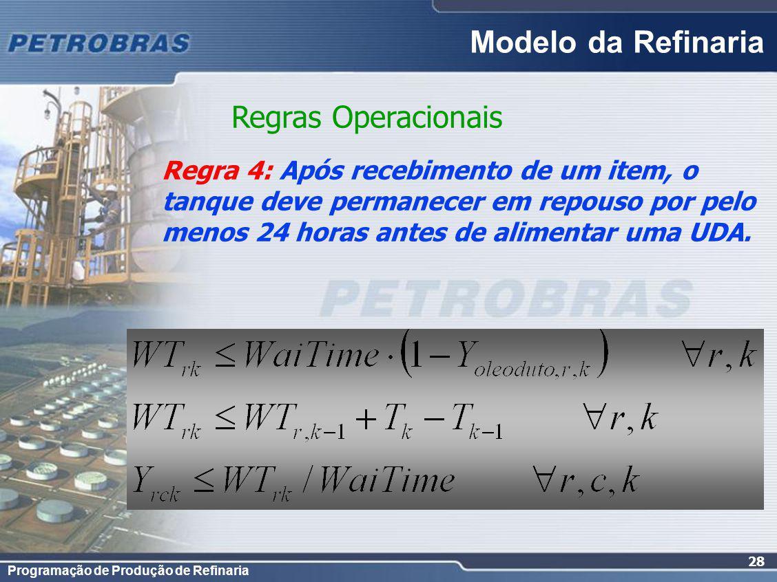 Programação de Produção de Refinaria 28 Regra 4: Após recebimento de um item, o tanque deve permanecer em repouso por pelo menos 24 horas antes de ali